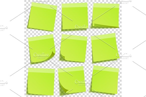 Sticky Note With Shadow Isolated On Transparent Background Green Paper Message On Notepaper.Reminder Vector Illustration