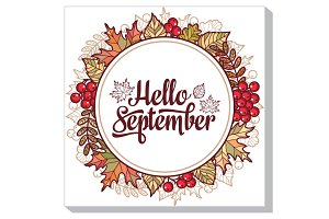 Hello september. Autumn frame.