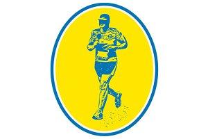 Marathon Runner Running Oval Retro