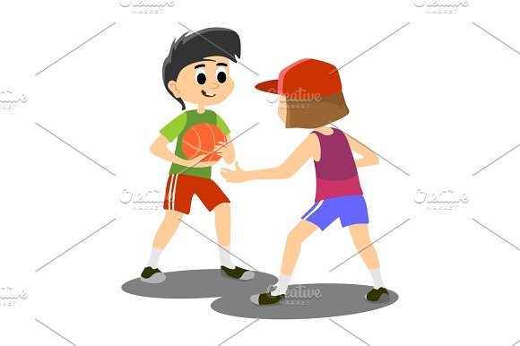 Happy Kids School Activity Child Sport Team Boy Have Fun And Play With Ball On Basketball Field On Stadium Isolated Active Game Background Vector Illustration