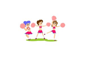 cheerleader dancing in uniform with pom poms, teenager girl school team concept, elementary and high school sport activity vector illustration