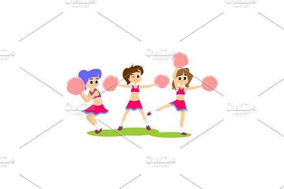 Cheerleader Dancing In Uniform With Pom Poms Teenager Girl School Team Concept Elementary And High School Sport Activity Vector Illustration