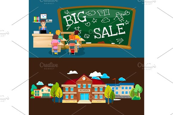 Back To School Set Of Pictographs Childrens Life Newspaper And Library Boys Basketball Girls Cheerleader Team Teacher With Pupils At Class Professor Lecture College Building Vector Illustration