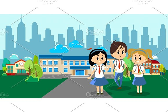 Back To School Concept For Banner Children Stand Near School Building And Happy At Beginning Of The Education Year Students With Backpacks And In Uniform Entered College Vector Illustration
