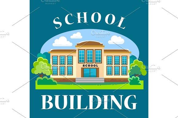 Modern School Buildings Exterior Student City Concept Elementary School Facade Urban Street Background Icon Vector Illustration
