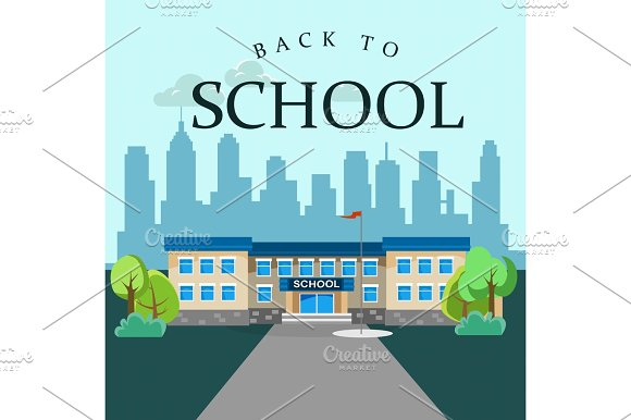 Modern School Buildings Exterior Student City Concept Elementary School Facade Urban Street Background Icon Vector Illustration