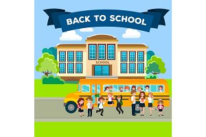 modern school buildings exterior, student city concept, elementary school facade urban street background, icon vector illustration