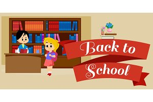 elementary education, students in library with bookshelf, back to school lifestyle concept, literature lessons in school, information research vector illustration, child reading book in bookstore