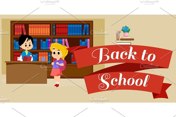 Elementary Education Students In Library With Bookshelf Back To School Lifestyle Concept Literature Lessons In School Information Research Vector Illustration Child Reading Book In Bookstore
