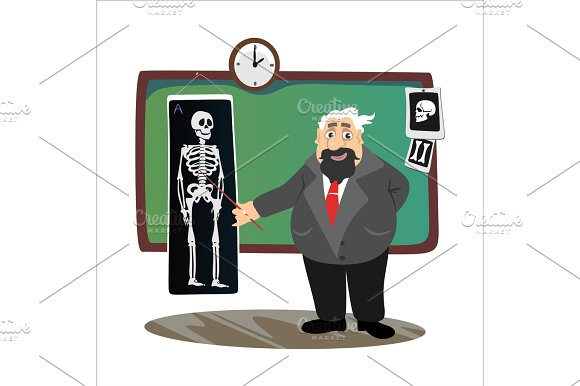 Professor Near The Blackboard With Formulas At University Lecture Teacher In Class At Lesson Teaches Students Higher Education In The College School Vector Illustration
