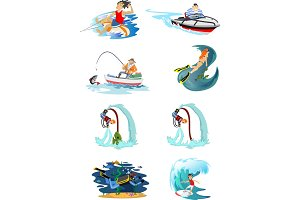 Set of water extreme sports icons, isolated design elements for summer vacation activity fun concept, cartoon wave surfing, sea beach vector illustration, active lifestyle adventure