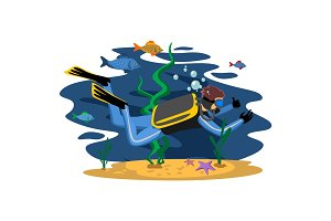 Diving snorkelling water extreme sports, isolated design element for summer vacation activity concept, cartoon wave surfing, sea beach vector illustration, active lifestyle adventure