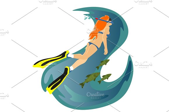 Diving Snorkelling Water Extreme Sports Isolated Design Element For Summer Vacation Activity Concept Cartoon Wave Surfing Sea Beach Vector Illustration Active Lifestyle Adventure