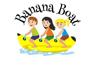 banana boat water extreme sports, isolated design element for summer vacation activity concept, cartoon wave surfing, sea beach vector illustration, active lifestyle adventure