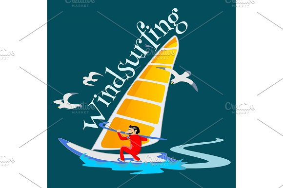 Windsurfing Water Extreme Sports Isolated Design Element For Summer Vacation Activity Concept Cartoon Wave Surfing Sea Beach Vector Illustration Active Lifestyle Adventure