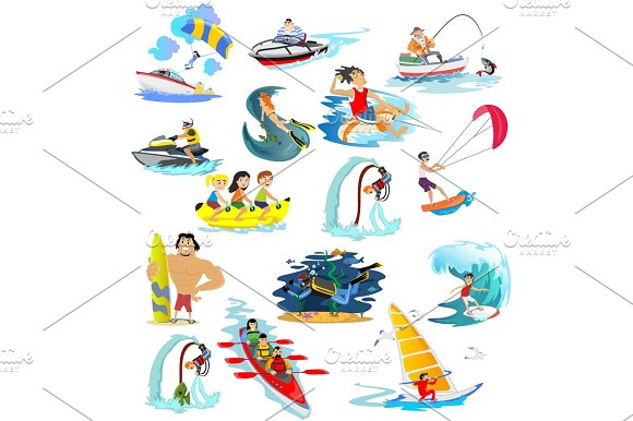 Set Of Water Extreme Sports Icons Isolated Design Elements For Summer Vacation Activity Fun Concept Cartoon Wave Surfing Sea Beach Vector Illustration Active Lifestyle Adventure