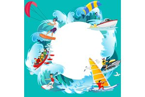 Set of water extreme sports backgrounds, isolated design elements for summer vacation activity fun concept, cartoon wave surfing, sea beach vector illustration, active lifestyle adventure