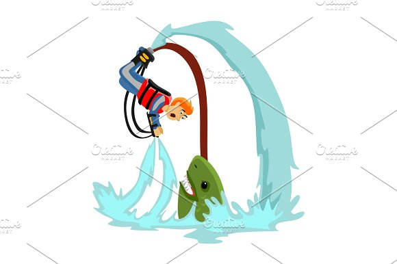 Fly Board Water Extreme Sports Isolated Design Element For Summer Vacation Activity Concept Cartoon Wave Surfing Sea Beach Vector Illustration Active Lifestyle Adventure