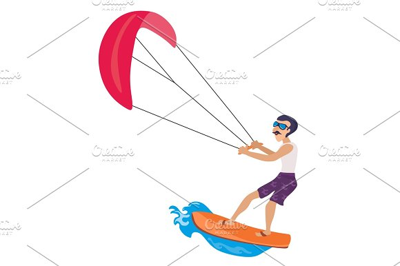 Kitesurfing Water Extreme Sports Isolated Design Element For Summer Vacation Activity Concept Cartoon Wave Surfing Sea Beach Vector Illustration Active Lifestyle Adventure