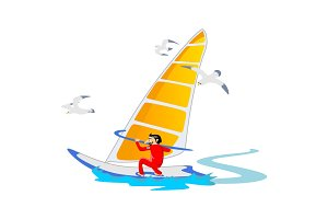 Windsurfing water extreme sports, isolated design element for summer vacation activity concept, cartoon wave surfing, sea beach vector illustration, active lifestyle adventure