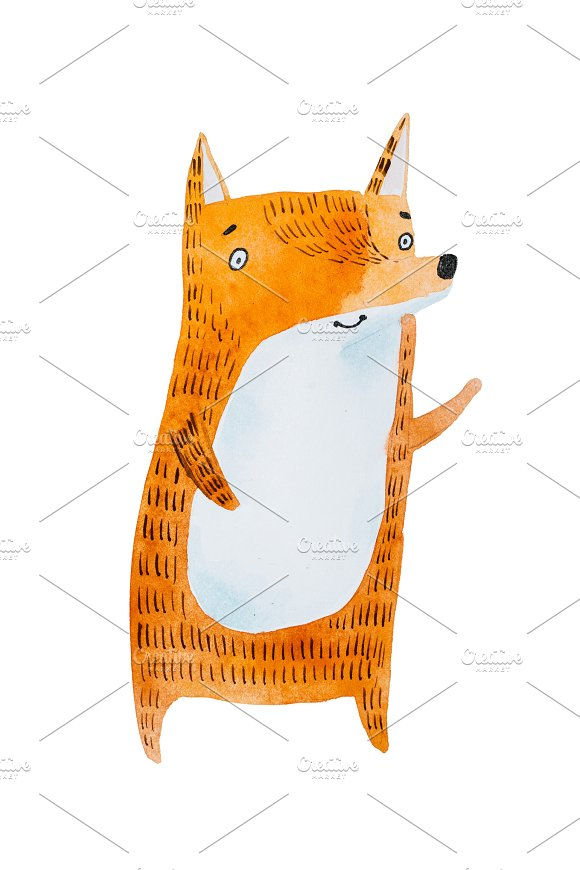 Aquarelle Painting Of Cute Cartoon Little Red Fox Isolated On White Background