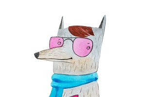 Watercolor sketch of hipster dog with trendy hairstyle, pink glasses and stylish clothes riding on a hoverboard holding smartphone