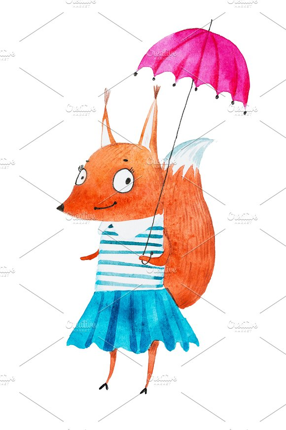 Watercolor Pretty Little Squirrel Girl Wearing Dress Walking With An Umbrella