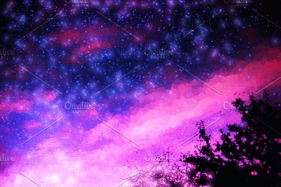 Pink And Purple Night Stars Illustration Background