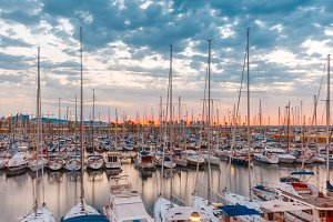 Marina Port Vell at sunrise, Barcelona, Spain