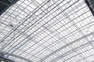 The retractable roof stadium from the inside. Heavy metal design