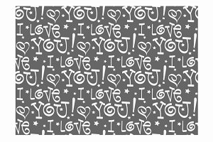 I love you, seamless pattern retro