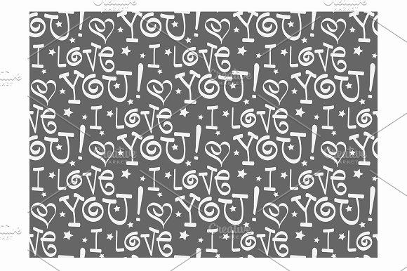 I Love You Seamless Pattern Retro