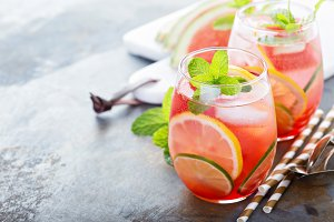 Summer refreshing cocktails with watermelon