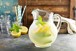 Traditional lemonade in a pitcher