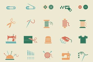 Sewing equipment & needlework icons