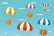 Delivery. Gift Boxes on Parachute