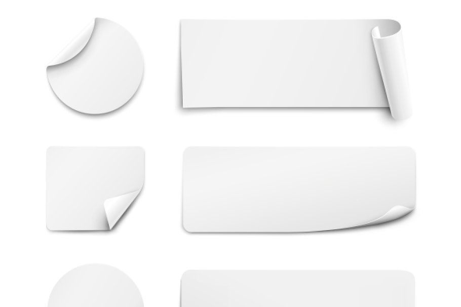 White Paper Stickers On White Creative Product Mockups