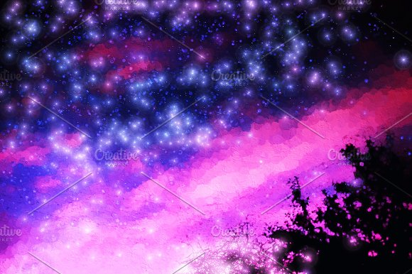 Pink And Purple Night Stars Illustration Background