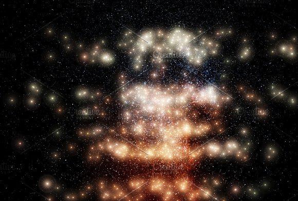 Glowing Stars On Night Sky Background