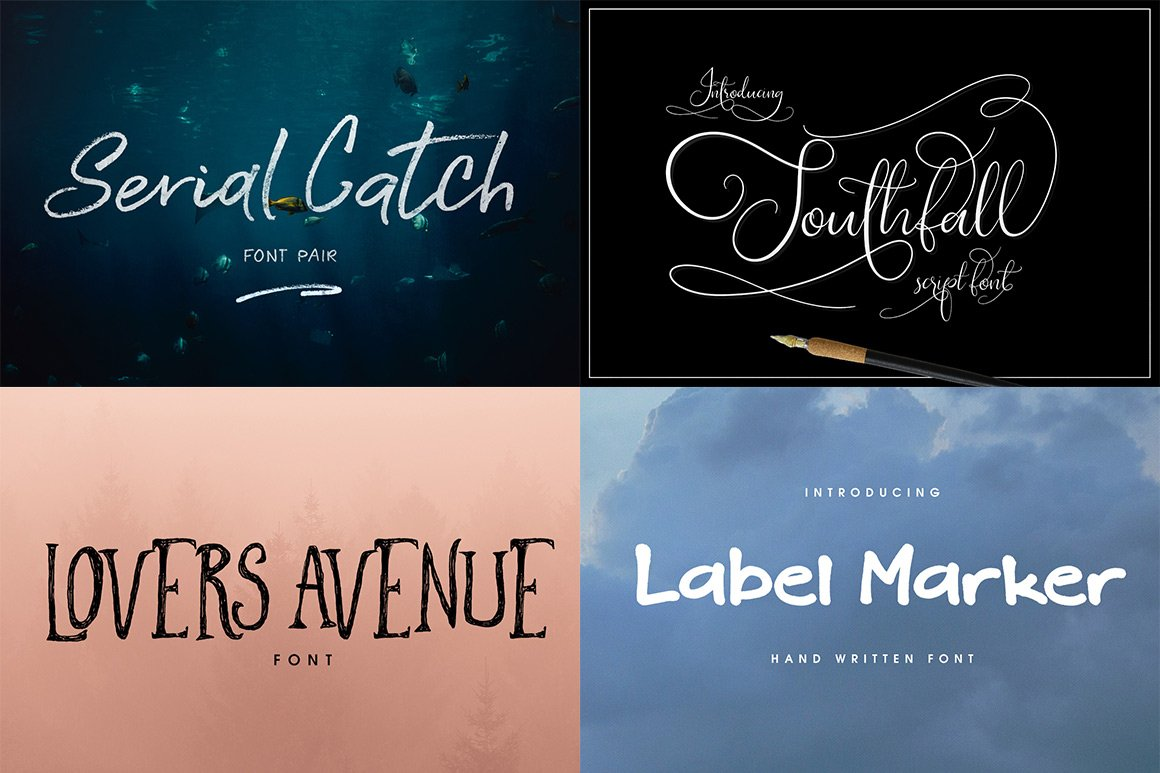 102 Fonts & Graphics Bundle - Script - 8