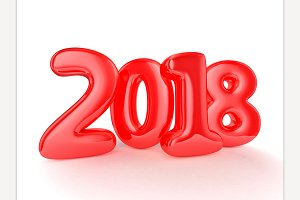 Happy New Year 2018. 3D rendering
