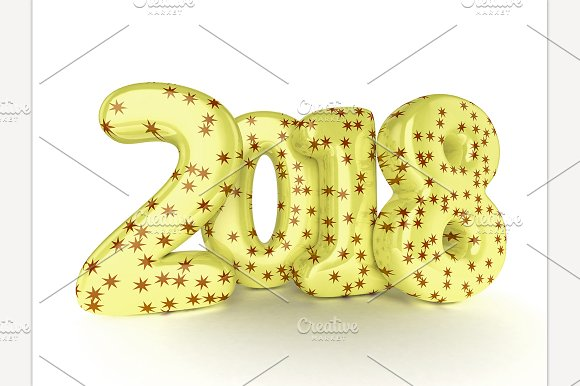Happy New Year 2018 3D Rendering