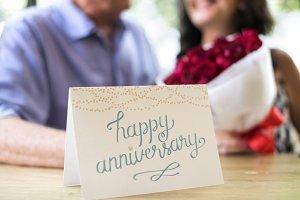 Couple anniversary celebrating