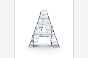 Alphabet made out of ice.