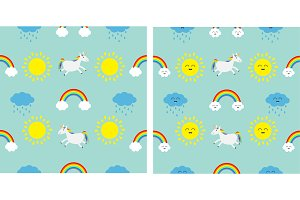 Sun, rain cloud, unicorn pattern