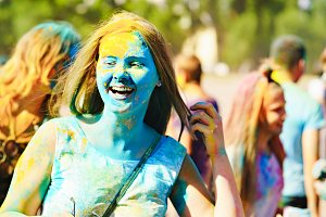 Girls paint holi