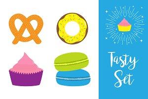 pretzel, donut, cupcake, macaron