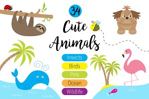 Cute cartoon animals big set