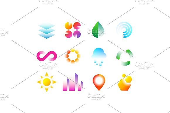 Modern Business Emblems With Geometric Shapes Abstract Vibrant Color Logo Vector Design Collection