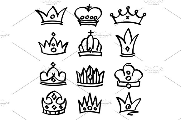 Vector Hand Drawn Princess Crowns Sketch Doodle Royalty Symbols